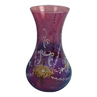 Czech 1960's Cranberry Glass Vase With Applied Enamel Detail And Gilt Work