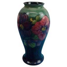 Large 10.25 Inch Circa 1950 Moorcroft Clematis Baluster Vase