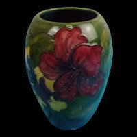 Ovoid Form Moorcroft Hibiscus Pattern Vase