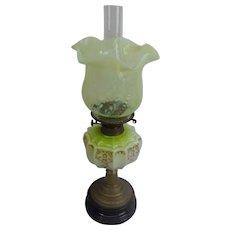 Victorian Vaseline Glass Oil Lamp