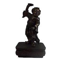 Japanese Meiji Bronze Dancing Figure In Chinese Emperor's Robes