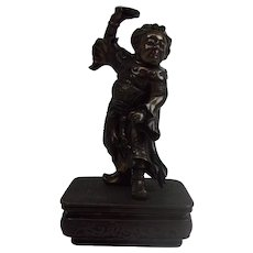 Japanese Meiji Bronze Dancing Figure In Chinese Emperor's Robes