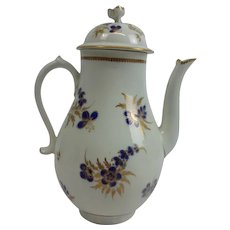 Circa 1785 Royal Worcester Coffee Pot In Blue And Gilt