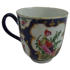 Circa 1785 Worcester Exotic Birds Coffee Cup