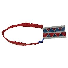 Zulu Tribal Bead Work Arm Band In Red With A Drop Down Geometric Panel