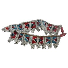 Zulu Tribal Bead Work Arm Band In White With Inset Red And Panels