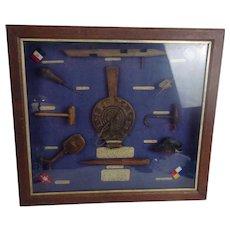 Circa 1900 Sailors Shadow Box Display Of Ship Tools