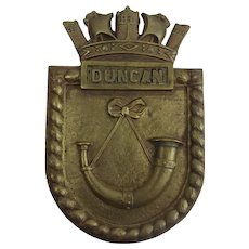 HMS Duncan WW2 Destroyer Bronze Boat Badge