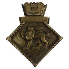 HMS Maidstone 1938 Submarine Depot Ship Bronze Boat Badge