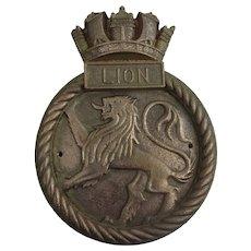 HMS Lion WW1 Battle Cruiser 1910 Bronze Boat Badge