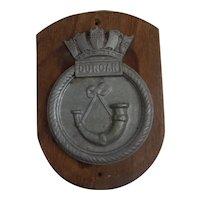 Late WW2 HMS Duncan Royal Navy 1933 Destroyer Leader Ships White Alloy Boat Badge