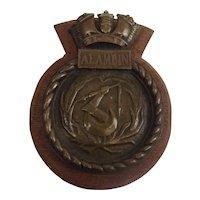 HMS Alamein 1947 Battle Class Fleet Destroyer Bronze Boat Badge