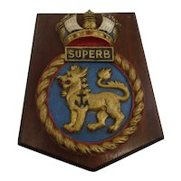 HMS Superb Swiftsure Class Submarine 1974 Alloy Hollow Back Boat Badge