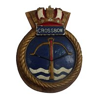 HMS Crossbow Weapons Class Destroyer Ships Alloy Boat Badge Copy