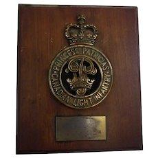 Princess Patricia's Canadian Light Infantry Bronze Plaque