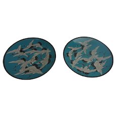Fine Quality Matched Pair Of Japanese Meiji Period Cloisonne Enamel Chargers Depicting Imperial White Red Headed Crane Birds In Flight