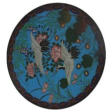 Japanese Meiji Period Cloisonne Enamel Charger Of Imperial White Red Headed Crane Birds