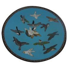 Antique Japanese Meiji Period Cloisonne Enamel Charger Depicting Birds In Flight