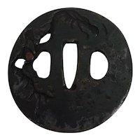Antique Edo Period Japanese Wrought Iron Tsuba