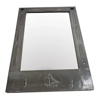 Circa 1900 Arts And Crafts Pewter And Ruskin Agate Cabochon Set Mirror With A Yacht Theme