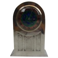 Circa 1910 David Veasey For Liberty and Co. Arts And Crafts Tudric Pewter And Enameled Dial Mantle Clock
