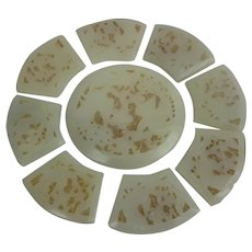 Chinese Reticulated Carved Jade Sectional Rosette