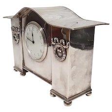 Circa 1900 Silver Plate Mantle Clock