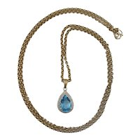 9ct Yellow Gold Blue Topaz & Diamond Pendant Necklace - 24 Inches