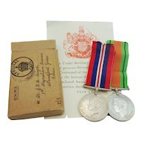 WW2 Medal Pair With Dispatch Box