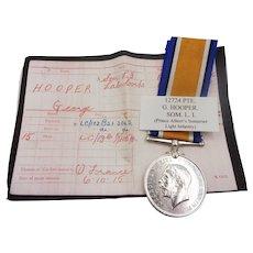 WW1 War Medal Pte G. Hooper Somerset Light Infantry