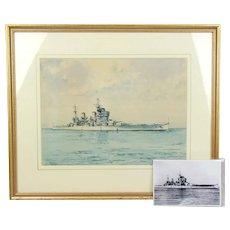Battleship Watercolour Of H.M.S. Duke Of York By Former Officer Alan Price