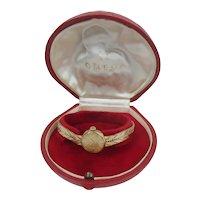 c1964 Ladies 9ct Gold Omega Wrist Watch In Original Clam Case