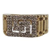 9ct Yellow Gold Diamond Greek Key Ring UK Size O US 7