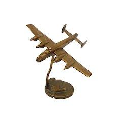 WW2 Era Trench Art Brass Desktop Model Of An RAF Lancaster Bomber