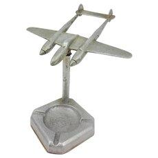 WW2 Era Lockheed P38 Lightning Fighter Plane Ashtray Model
