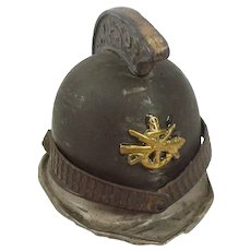 Early 20thC Brass Miniature Firemans Helmet Inkwell