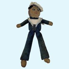 1930s Cloth Sailor Homemade Doll With HMS Joy Cap Tally