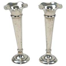 Pair Of Birmingham 1915 Silver Trumpet Vases