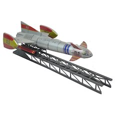 3D Printed And Hand Built Model Of Fireball XL5 With Its Launching Ramp