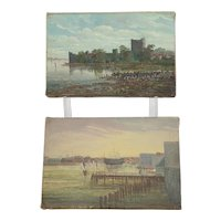 Pair Of Circa 1880 Oil Paintings By C Allan Of Porchester Castle And Portsmouth Harbour