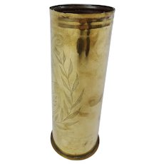 WW1 1917 Western Front 6 Pounder Bailleul Trench Art Shell Case