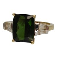 9ct Yellow Gold Russian Diopside & Sapphire Ring UK Size J+ US 5
