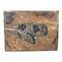 1930s Slate Carved Relief Panel Of A Motor Car Racing Scene