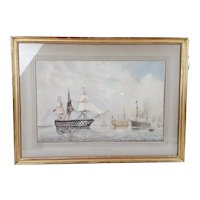 William Edward Atkins 1842-1910 Watercolour Of Portsmouth Harbour