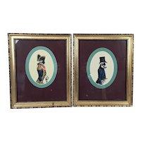 Two Oval Silhouette Portraits Of Gentlemen In Naval Dress