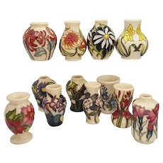 Complete Set of Moorcroft Miniature Floral Months of The Year Vases 2018
