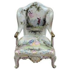 Circa 1780 Honoré Savey Faience Miniature Armchair