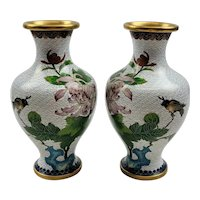 Mirror Pair Of Early 20th Century Chinese Cloisonne Vases With Chrysanthemums And Birds