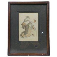 Japanese Surimono Woodblock Print of Two Japanese Women By Hokusai