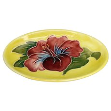 Moorcroft Yellow Hibiscus Pattern Oval Pin Dish #3